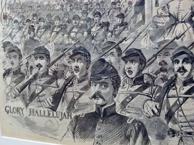 "Image of soldiers marching and singing ""Glory Hallelujah"" (""The Battle Hymn of the Republic"")"