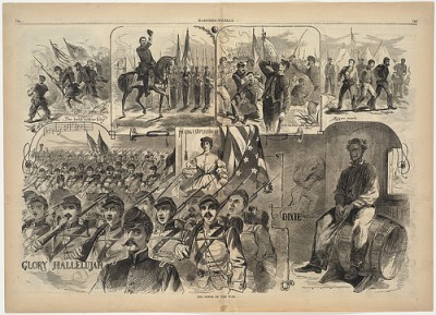 "Print showing images for ""The Battle Hymn of the Republic,"" ""Dixie"" and other Civil War songs"
