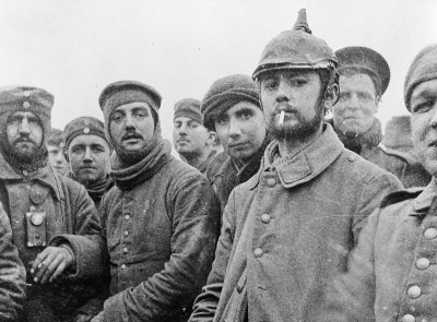 Photo of British and German soldiers fraternising at Ploegsteert, Belgium, on Christmas Day 1914.